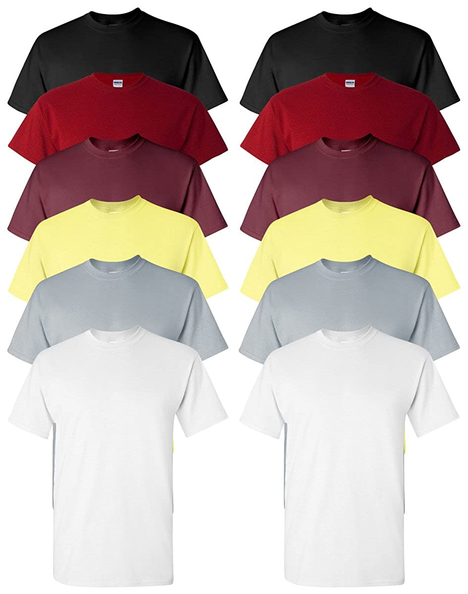 Assorted colors Small Gildan Men's Classic Heavy Cotton TShirt (Pack of 12)