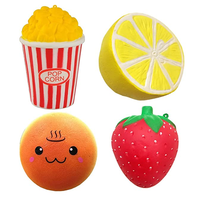 Viccent Pack of 4 Jumbo Slow Rising Squishies Popcorn Lemon Spa Hamburger Strawberry Charms Kawaii Scented Squishy Stress Relief Toys Decorative Props