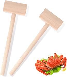 2Pcs Small Wooden Mallets for Breakable Chocolate Heart, Wooden Crab Lobster Mallets Seafood Hammers