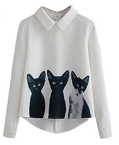 Kerlana Tops Mujer Casual Blusa Manga Larga Patrón De Gato Camisa Cremallera Camiseta Solapa Tops Cute