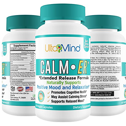 Calm-ER Anxiety Supplement - Extended Release Stress Relief w Fast Acting Herbal Blend + B Vitamins to Improve Sleep, Mood - Increase Serotonin & Reduce Panic Attacks - 60 ct Anti-Anxiety Pills