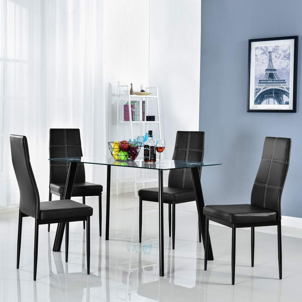 Bonnlo 5 Pieces Dining Set Modern Dining Table Set for 4 Persons Kitchen Dining Table with 4 PU Leather Chairs Dining Room Table with Tempered Glass Top
