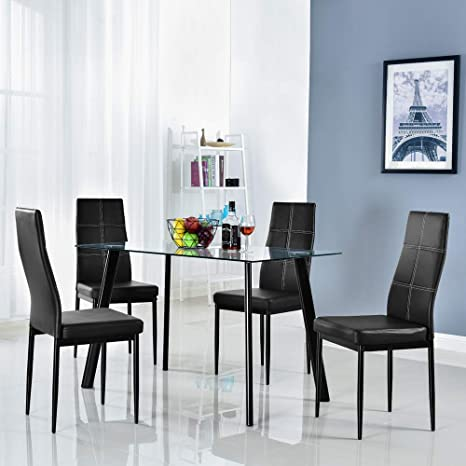 Enjoyable Bonnlo 5 Pieces Dining Set Modern Dining Table Set For 4 Persons Kitchen Dining Table With 4 Pu Leather Chairs Dining Room Table With Tempered Glass Download Free Architecture Designs Remcamadebymaigaardcom