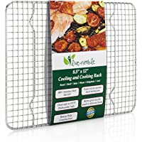 "Live-Nimble Premium 100% Stainless Steel Cooling Rack Also Cooks, Roasts, Grills to 575°F. Heavy Duty Wire Grid Cools Cookies Perfectly. Fits 8.5""x12"" Quarter Sheet Baking Pan."