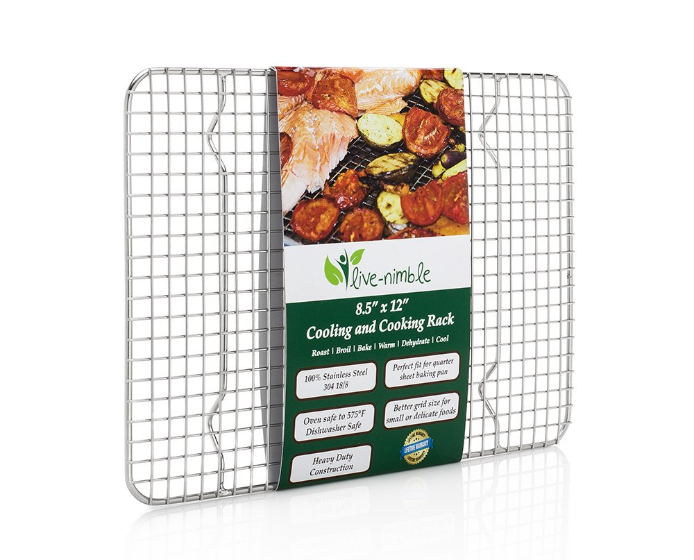 Baking Cooling Rack - 100% Stainless Steel - Cool Cookies Cakes Breads - Oven Safe for Cooking Roasting Grilling - Commercial Quality 8.5x12 Heavy Duty Wire Grid for Quarter Sheet Pan by Live-Nimble