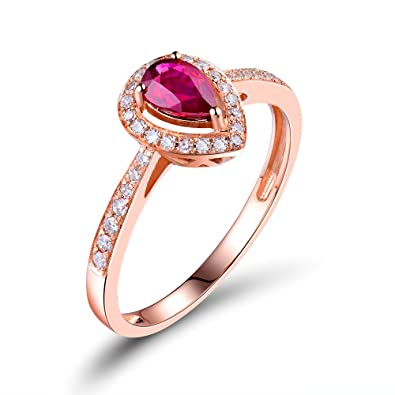 b5f81d2f353 Image Unavailable. Image not available for. Color  Lanmi Classic Women s  Solid 14K Rose Gold Natural Pear Ruby Diamond Engagement Ring