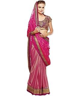 296ebd3026 Rehsha Women Pakistani Wedding Bridal Net & Velvet Pallu Saree Heavy ...