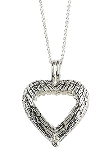 Between These Angel Wings Heart Wedding Ring Holder Necklace