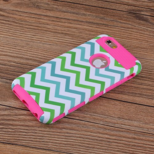 iPhone 6S hülle, Lantier Dual Layer Hybrid Luxury Fashion Shockproof Soft-Hard Case für das Apple iPhone 6, iPhone 6S Green White Blue Wave-Art-Grün