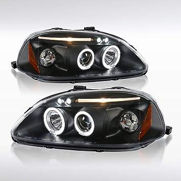 Fit 96-98 Civic Black Dual Halo LED Projector Headlight w// Amber Lamp EJ EM EK