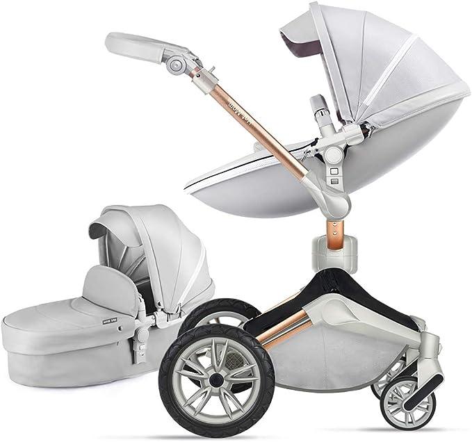 Xe đẩy Hot Mom và Xe đẩy kết hợp Carrycot - F023 2018 Thiết kế mới - Xám