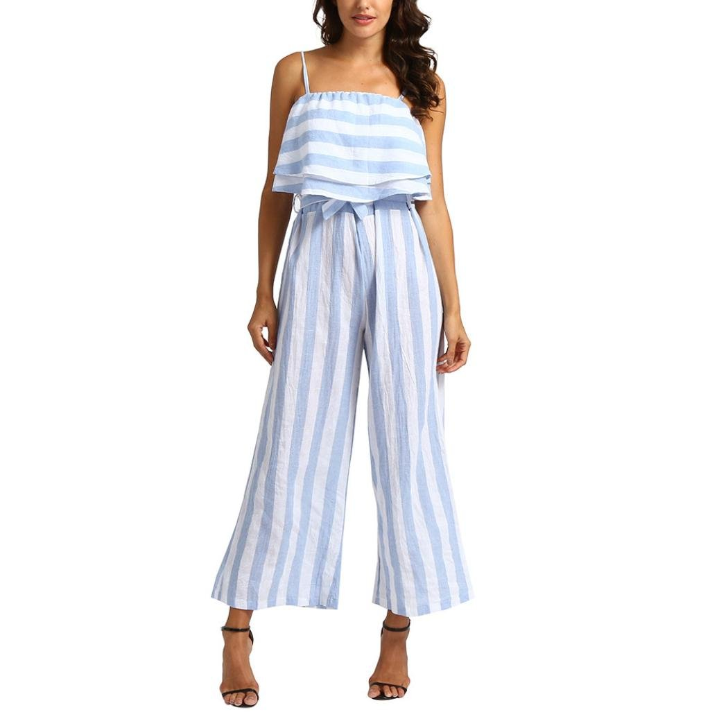 vermers Clearance Sale Women Jumpsuit Sleeveless Striped Casual Clubwear Wide Leg Pants Outfit(XL, Blue)