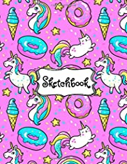 Sketchbook: Cute Unicorn Kawaii Sketchbook for Girls with 100+ Pages of 8.5