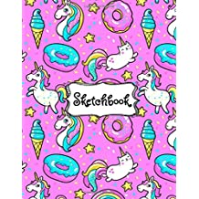 "Sketchbook: Cute Unicorn Kawaii Sketchbook for Girls with 100+ Pages of 8.5""x11"" Blank Paper for Drawing, Doodling or Learning to Draw ((Sketch Books For Kids)) (Volume 1)"