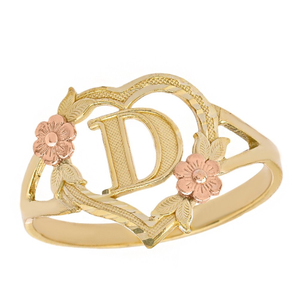 CaliRoseJewelry 10k Two-Tone Initial Alphabet Personalized Heart Ring in Yellow and Rose Gold (Size 12) - Letter D