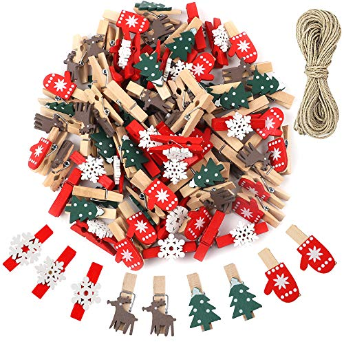CEWOR 120pcs Christmas Wooden Clips Mini Wooden Craft Clothespins Clips Christmas Tree Snowflake Elk Gloves DIY Photo Pegs with 10m Jute Twine for Home School Art Craft Decor