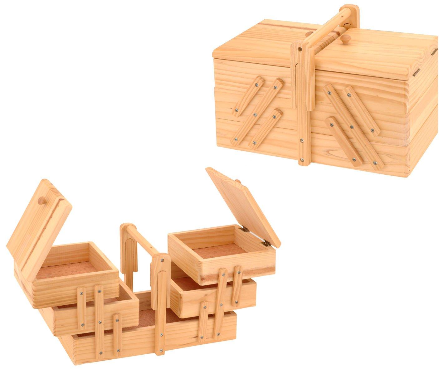 Holz Nähkästchen ausklappbar - Nähkasten Nähkiste Nähkorb Näh Box ...
