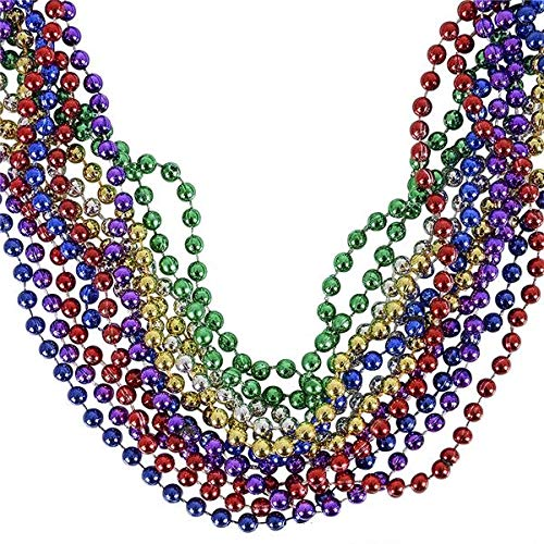 Rhode Island Novelty 33 inch - 7 mm Mardi Gras Beads | Assorted Colors | Pack of 12 -