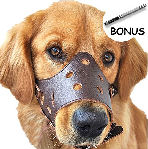 Dog Bark Muzzle - Dog Muzzle Leather, Comfort Secure Anti-barking Muzzles for Dog, Breathable and Adjustable, Allows Dringking and Eating, Used with Collars (S, Brown)
