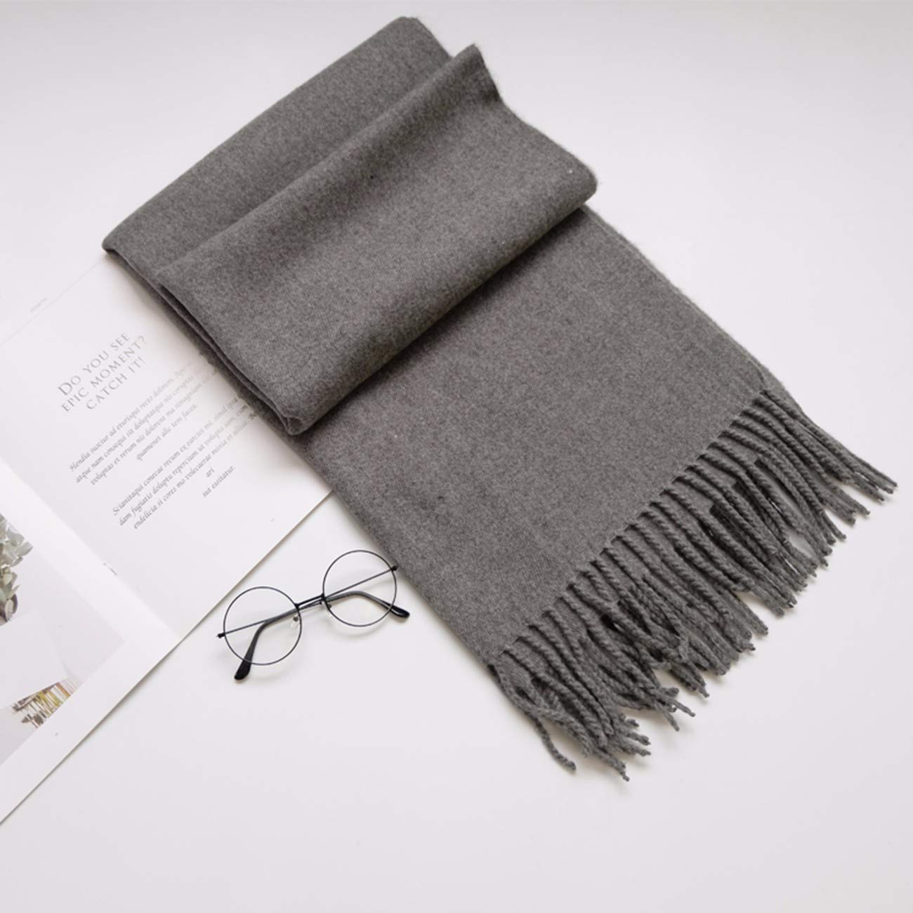 B Thickened Pure color Cashmere Scarf, DualPurpose Shawl and Long Neck Scarf.