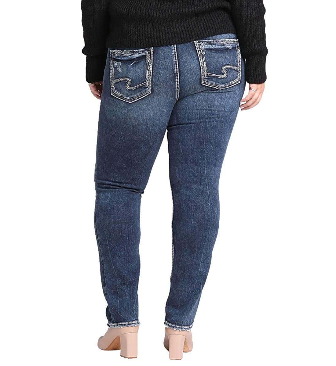 acb42341046 Amazon.com  Silver Jeans Co. Women s Plus Size Elyse Relaxed Fit Mid Rise Straight  Leg  Clothing