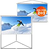 JaeilPLM 80 Inch Wrinkle-Free Portable Outdoor Projection Screen + Setup Stand + Transportable Bag Full Set for Camping and Recreational Events