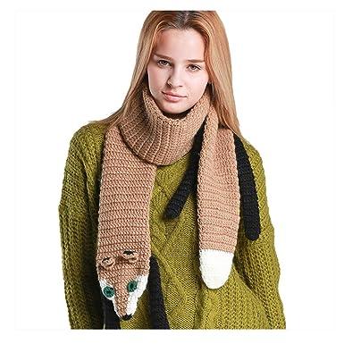 deca6cae4efbe9 UK_Stone Damen Xmas Fuchs Schal Winter Handarbeit Halstuch Gestrickt Schal  für Weihnachtsgeschenke