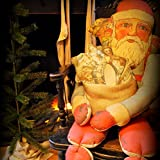Huge Vintage Blue Belsnickle Christmas Santa Claus Stuffed Door Hanger - FREE Pillows Included - 50 x 18 Inch