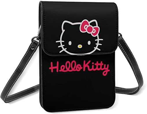Pink Cute Hello Kitty Lightweight Small Crossbody Bags Leather Cell Phone Purses Travel Pouch Shoulder Bag Wallet With Credit Card Slots for Women