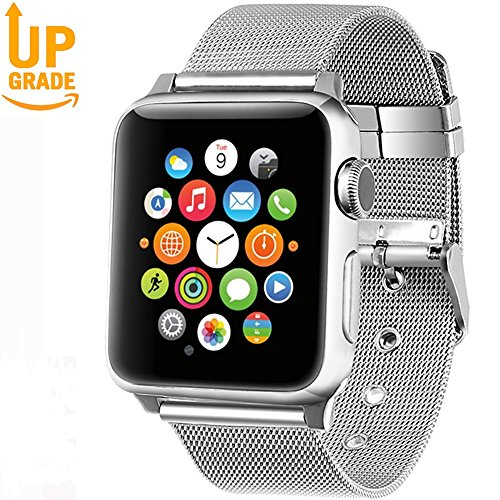 Gold Mesh Buckle (AGUARA Apple Watch Band 38mm 42mm, Mesh Loop Stainless Steel Strap with Classic Buckle Replacement iWatch Band for Apple Watch Series 3 Series 2 Series 1 Sport and Edition (Silver, 38 mm Buckle))