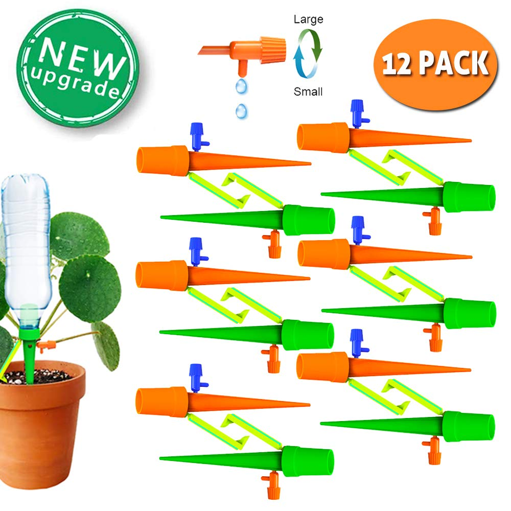 TAOPE Self Watering Spikes Automatic Plant Waterer Irrigation Spikes for Potted Plant Flower or Vegetables Plant Watering Devices 12 PCS