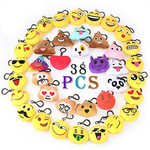 Emoji Keychain Decorations Emoji Party Favors Kids' Toy (38pcs pack) - coolthings.us