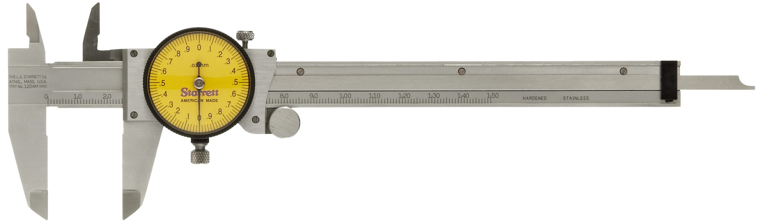 Starrett 120AM-150 Dial Caliper, Stainless Steel, Yellow Face, 0-150mm Range, +/-0.03mm Accuracy, 0.02mm Resolution