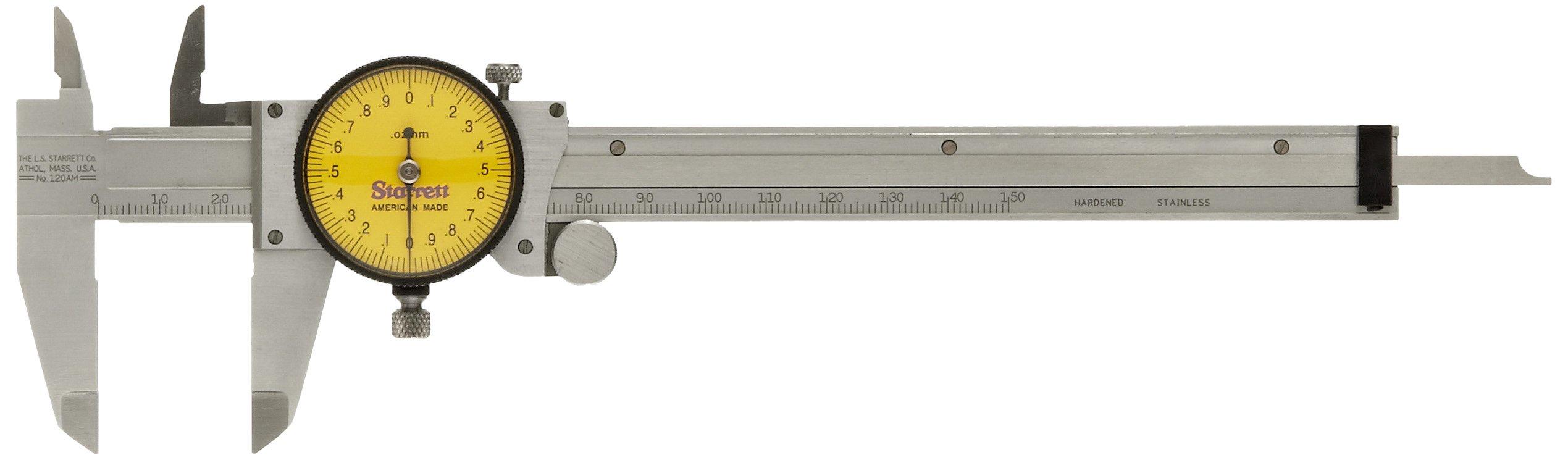Starrett 120AM-150 Dial Caliper, Stainless Steel, Yellow Face, 0-150mm Range, +/-0.03mm Accuracy, 0.02mm Resolution by Starrett