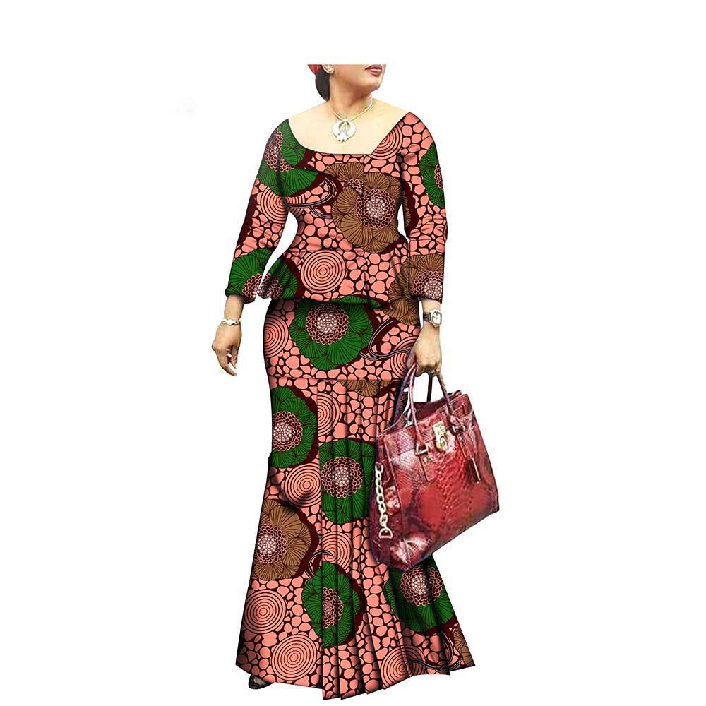 270x African Style 1Piece Long Maxi Dress for Lady Full Sleeve Pure Cotton Ankara Print Dashiki