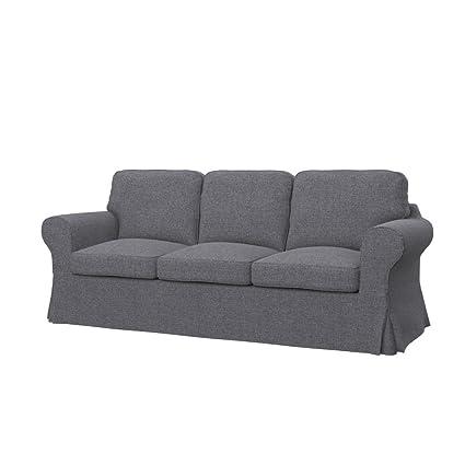 Soferia , Ikea EKTORP PIXBO Fodera per Divano Letto a 3 posti, Naturel Grey