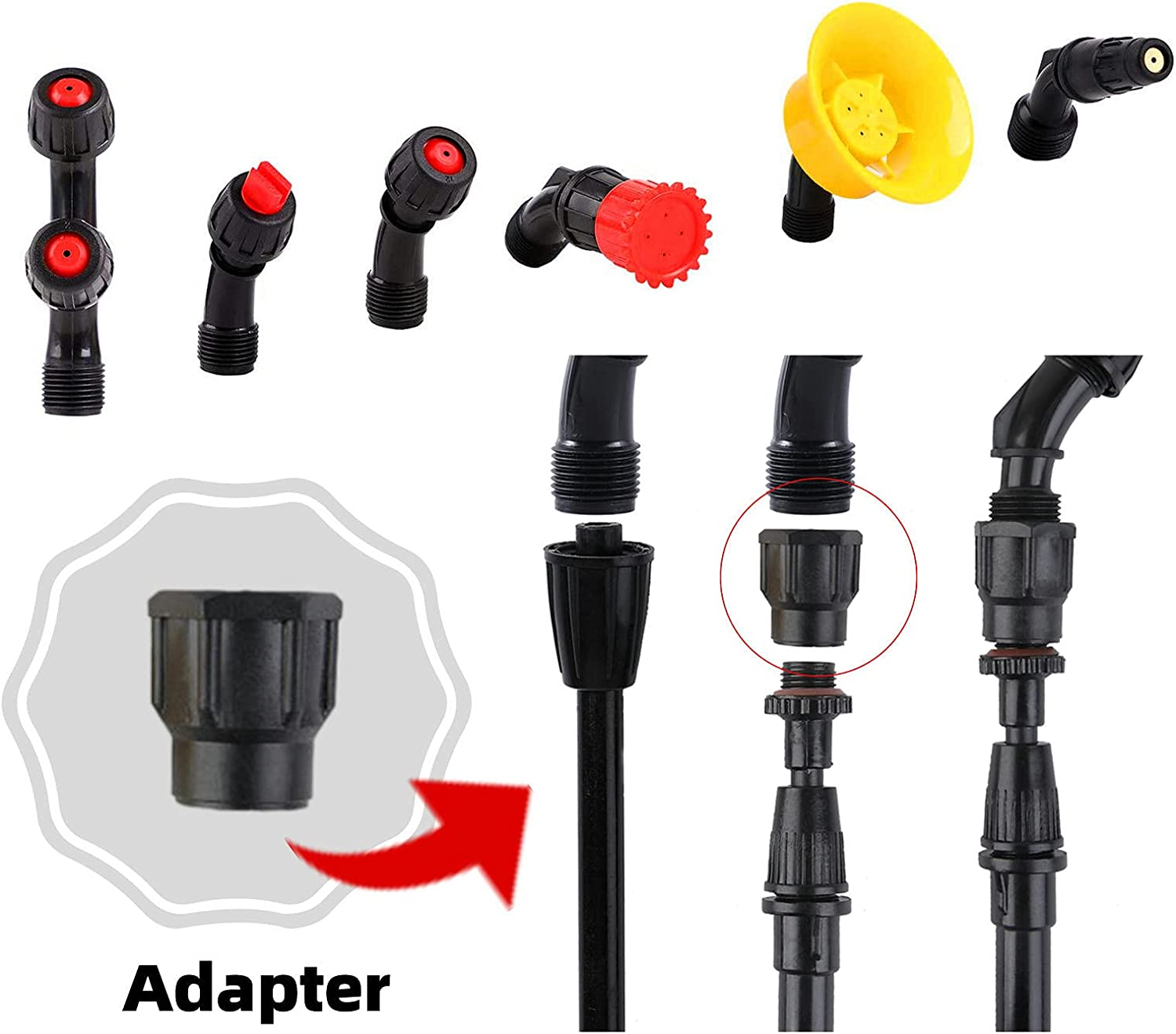 Aimela sprayer nozzle kit hollow cone nozzle 6 piece 80 degree angle fan spray suitable for sprayer and other tools