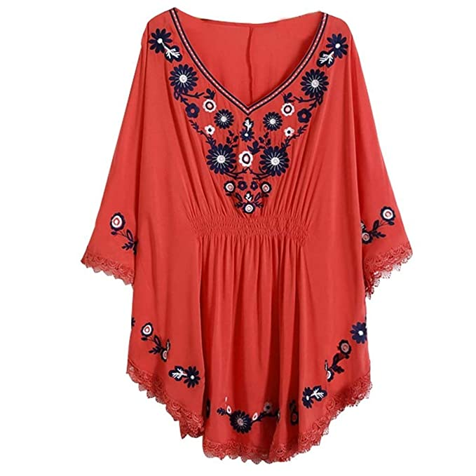 09b24e8b50ed6 Kafeimali Embroidery Batwing Sleeve Dressy Mexican Tunic Peasant Tops Blouse  (Red)