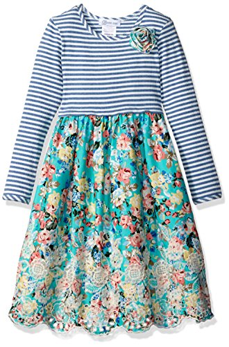 Bonnie Jean Girls' Toddler Knit to Floral Embroidered Scallop Dress, Blue, 2T Bonnie Jean Embroidered Jeans