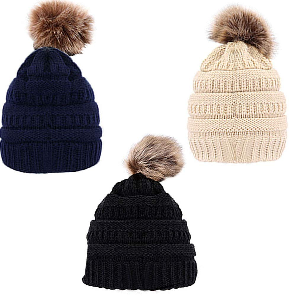LZYMSZ 3pc Women's Soft Stretch Thick double layered knit Cable Knit Warm Hat with Faux Fur Pompom(Navy bluee,black, beige)