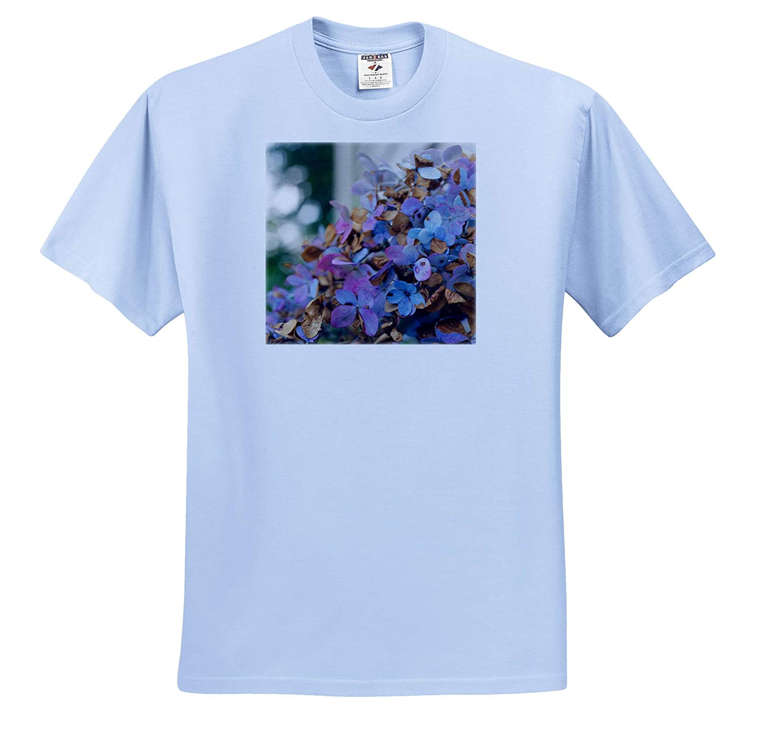 3dRose Stamp City - T-Shirts Flowers Close up Photograph of a Blue and Purple Hydrangea in Full Bloom