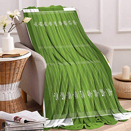 maisi Football Weave Pattern Extra Long Blanket Sports Field in Green Gridiron Yard Competitive Games College Teamwork Superbowl Custom Design Cozy Flannel Blanket 80