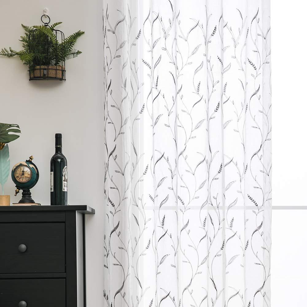 fd4bd1970da ... Cortinas Bordado Translucida de Dormitorio Moderno Ventana Visillos  Rayas Salon Paneles con Ojales Ampliar imagen