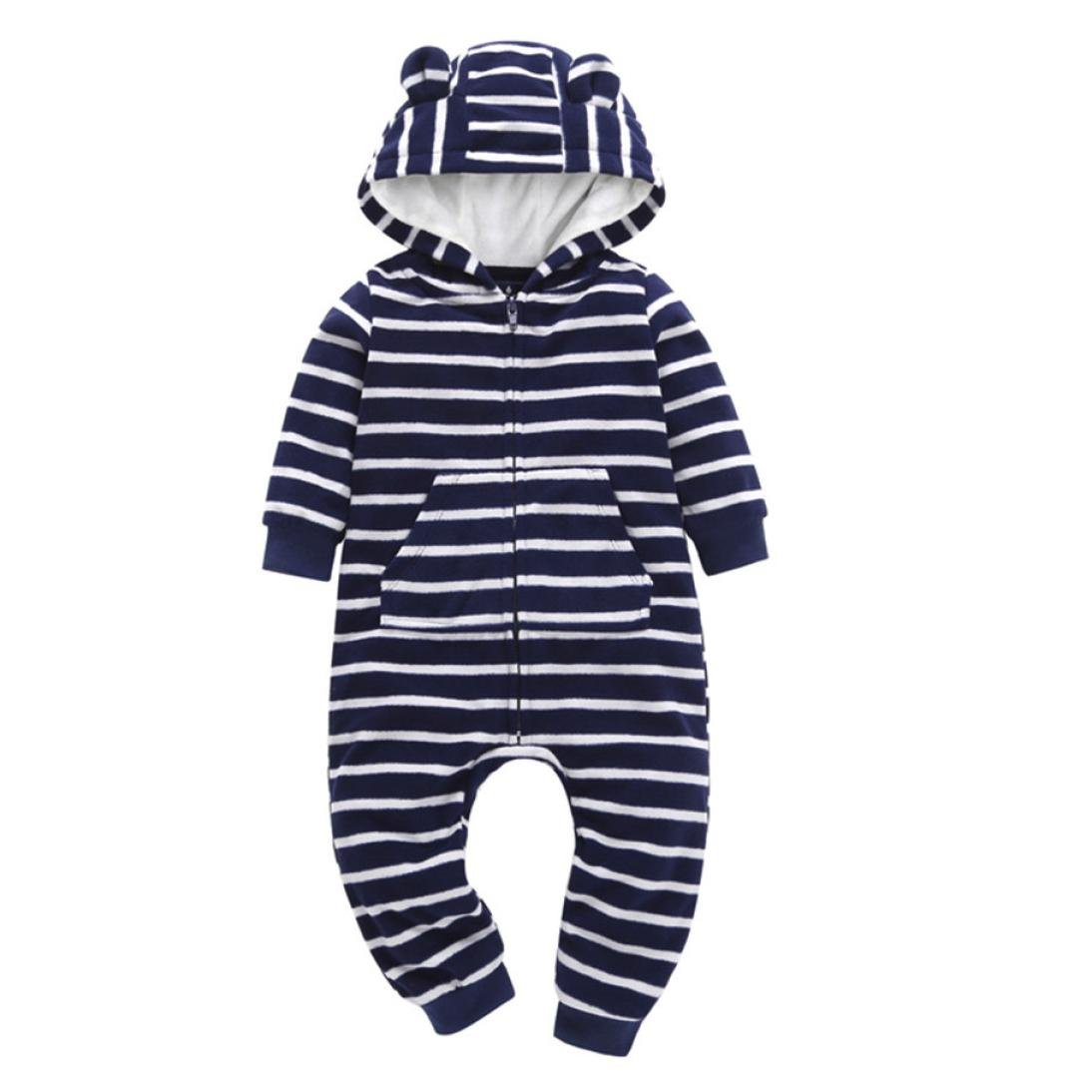 Baby Winter Warm Jumpsuit,Jchen(TM) Infant Baby Boys Girls Thicker Striped Hooded Romper Jumpsuit for 0-24 Months (Age: 0-6 Months)
