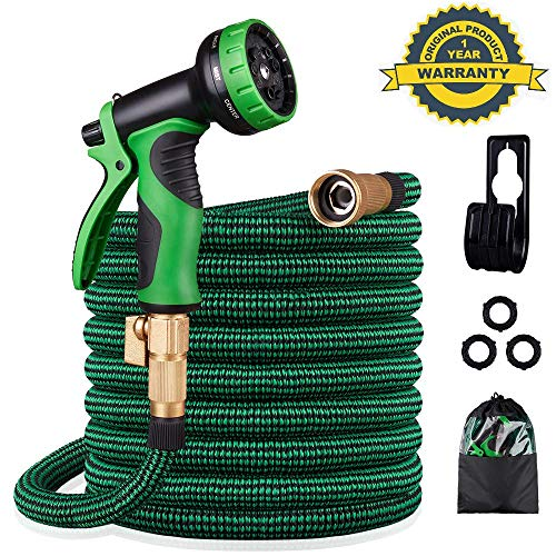 KURTVANA Expandable Garden Hose,Leakproof Lightweight No-Kink Water Hose 50ft with 9 Function Spray Hose Nozzle,Durable Flexible Water Hose with 3/4 Solid Brass,Extra Strength 3750D for Washing