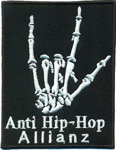 Anti Hip Hop Allianz Heavy Metal Bones Skelett Hand Rocker Aufn/äher Sticker Patch