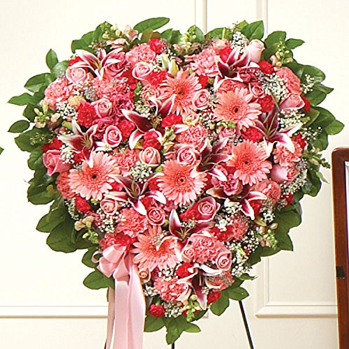 PlantShed - Pink Mixed Flower Heart - Flower Hand Delivery in NYC Local Manhattan (Pink Casket Spray Flowers)
