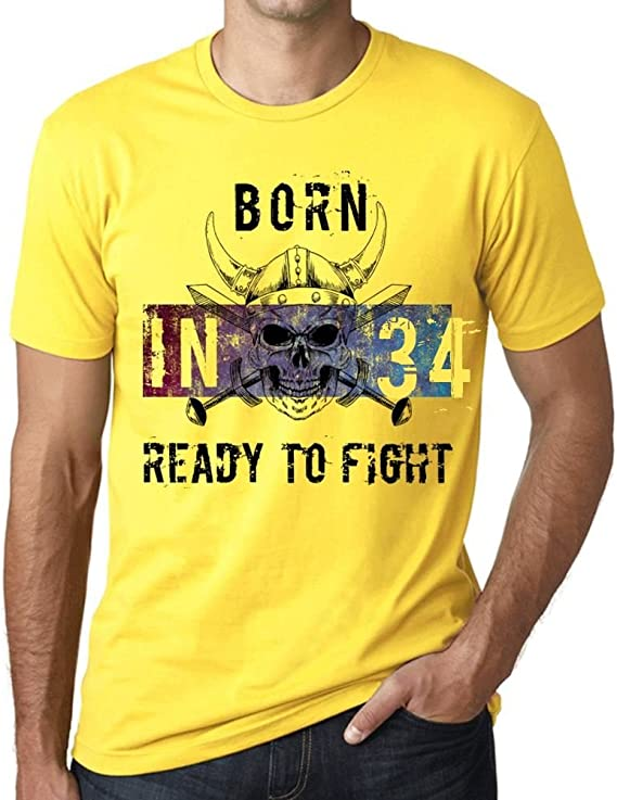 One in the City 34 Ready to Fight Hombre Camiseta Amarillo Regalo De Cumpleaños: Amazon.es: Ropa y accesorios