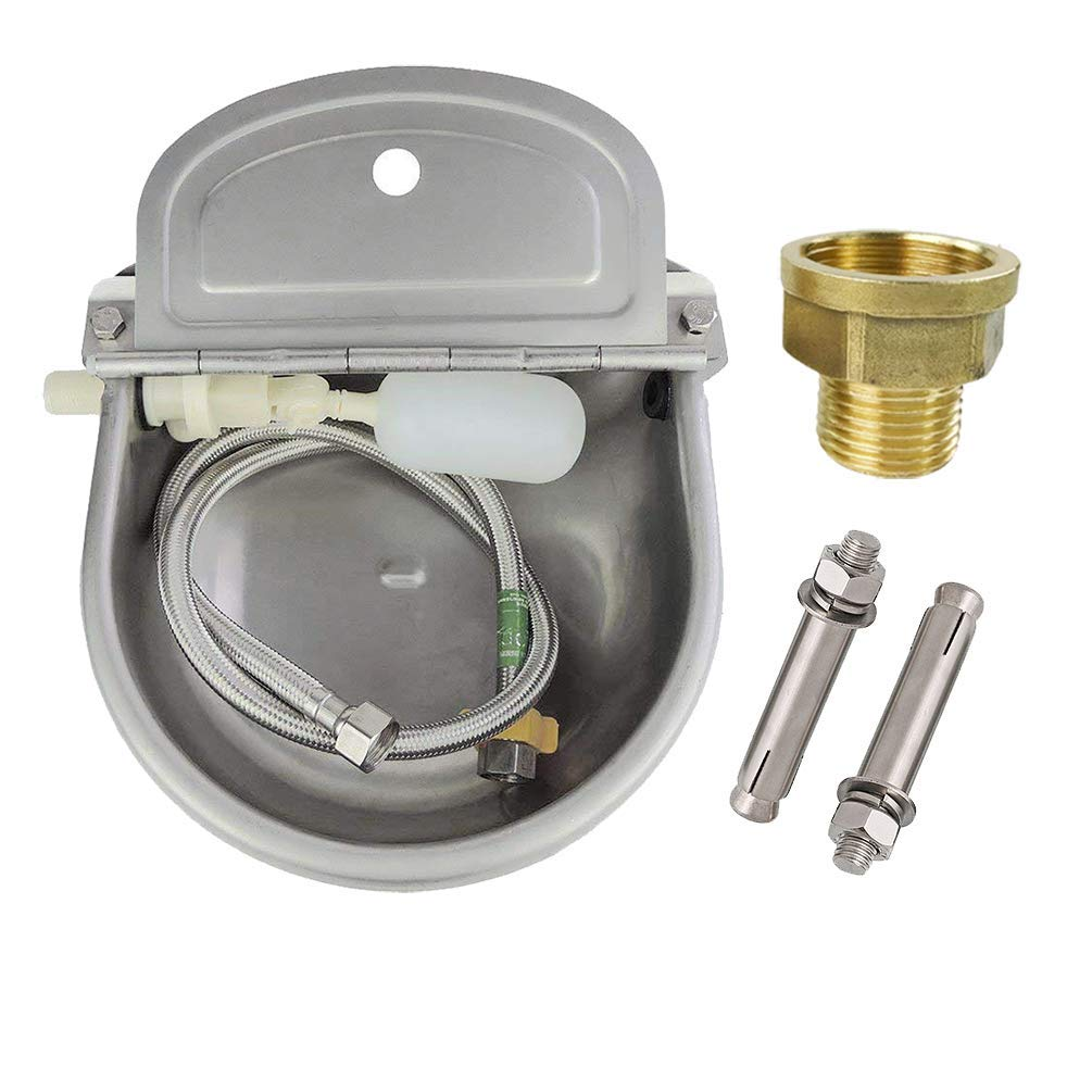 Lucky Farm Automatic Cattle Waterer Horse Sheep Goat Pig Dog Water Trough 4 in1 (Water Bowl&Pipe&Adaptor&Mounting Screws) by Lucky Farm