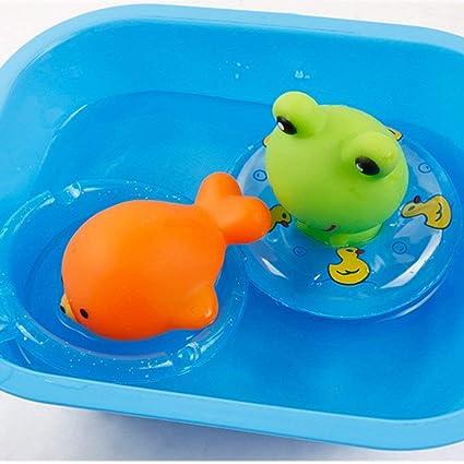Hemore juguetes de baño para bebé, flotador de goma, jabón de sonido, bañera